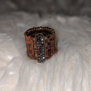 Chocolate brown and faux diamond ring